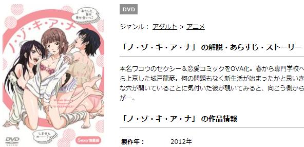 エロアニメ版ノ・ゾ・キ・ア・ナの動画もTSUTAYAディスカスなら高画質で無料視聴できる